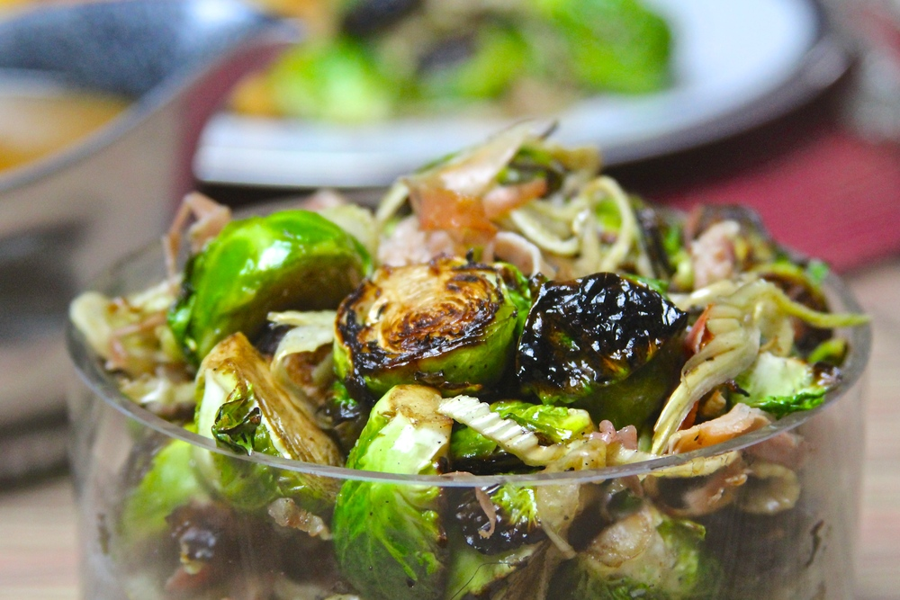 Flame Roasted Brussels Sprouts with Fennel and Serrano Ham
