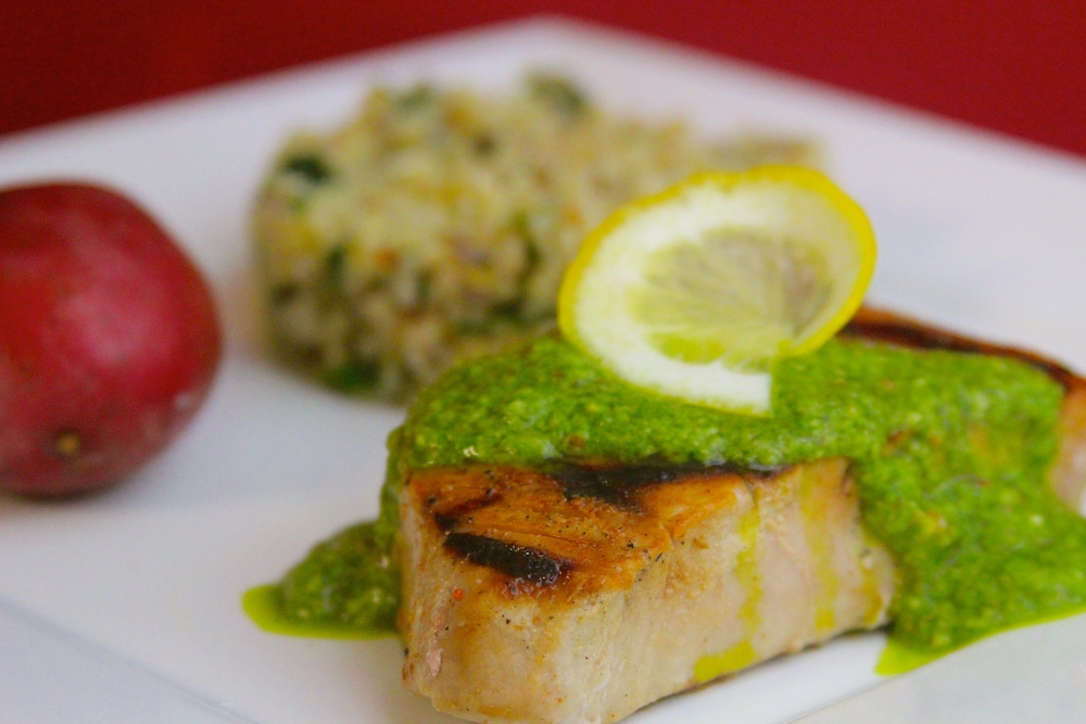 Grilled Tuna with Arugula Pesto