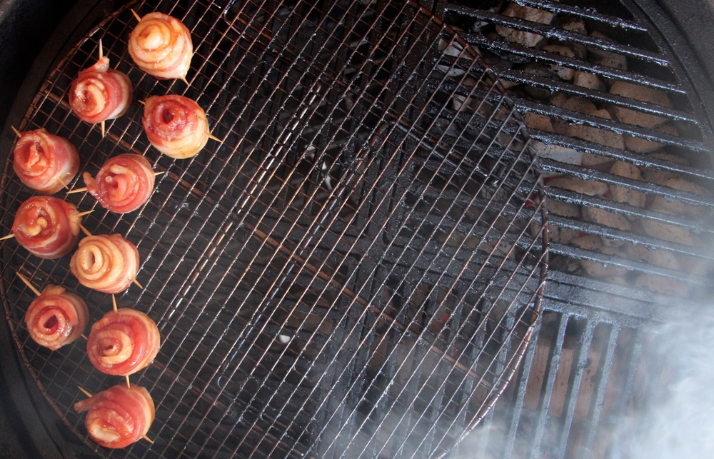 Place Candied Bacon Roses on the Grill