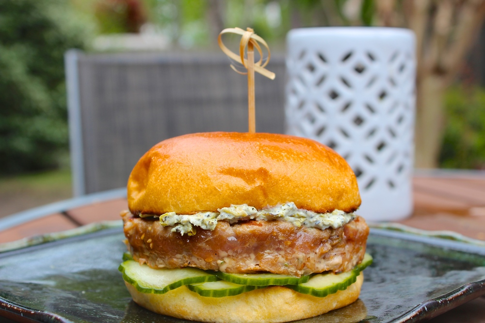 Grilled Tuna Burger with Pickled Cucumbers and Charred Shishito Pepper Mayo