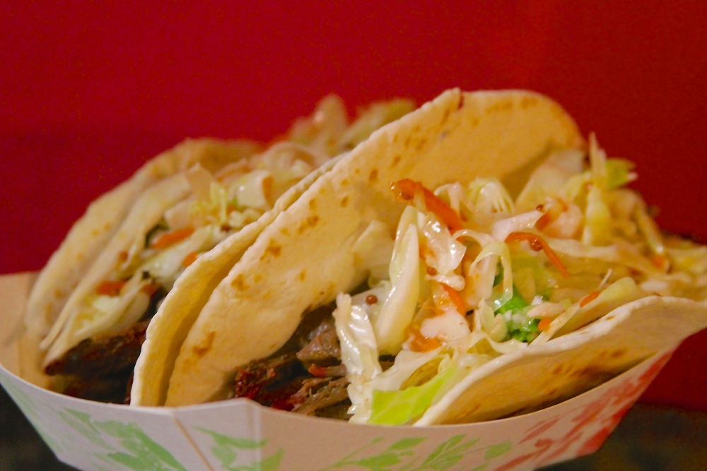 SMOKED PULLED BEEF TACOS WITH TANGY SLAW