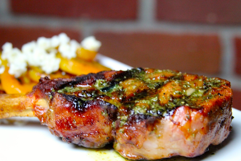 Grilled Veal Chop with Chimichurri Butter