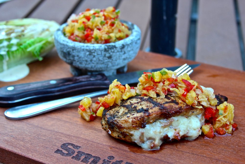 Stuffed Smithfield Pork Chop with Charred Pineapple Salsa