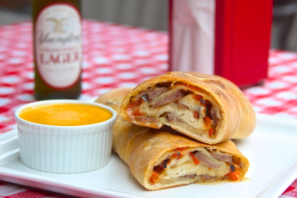 Smithfield Bratwurst and Charred Pepper Stromboli