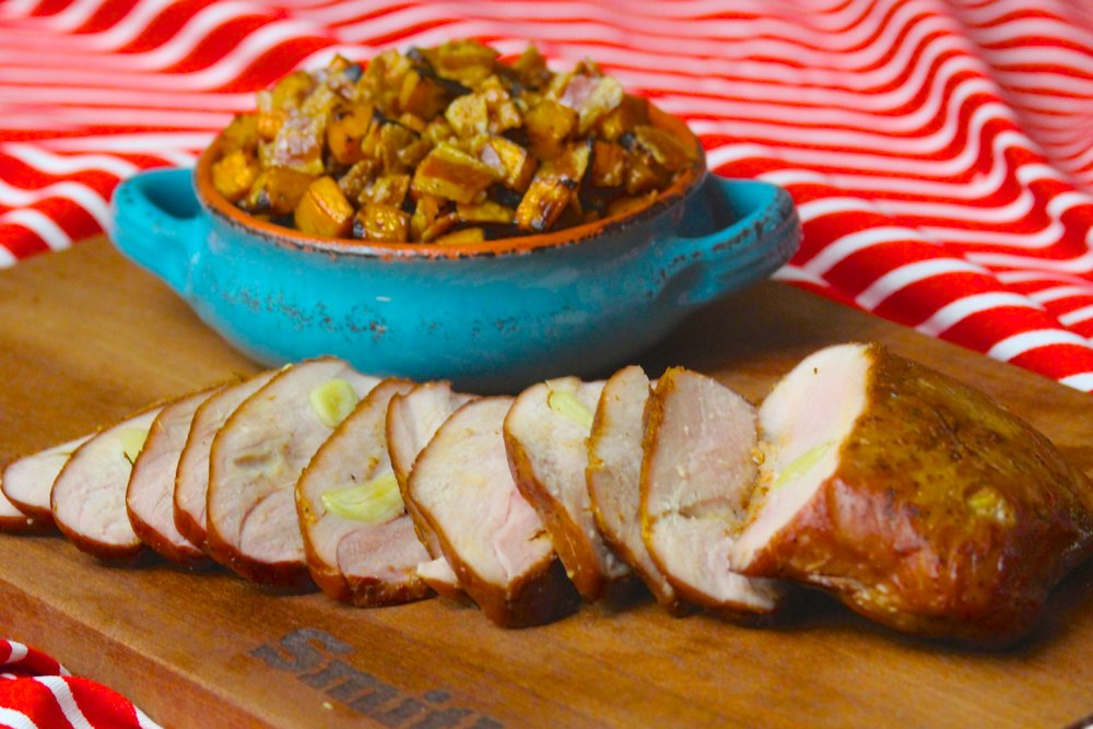 Grilled Pork Sirloin with Sriracha-Maple Glazed Sweet Potato Hash