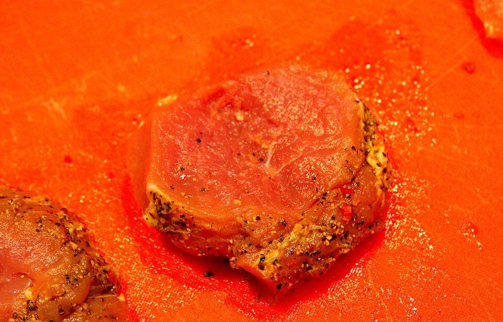 Open the butterflied section of pork tenderloin