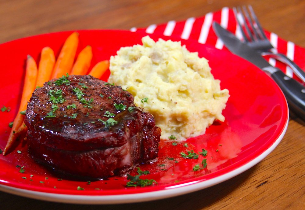 Plated fillet mignon
