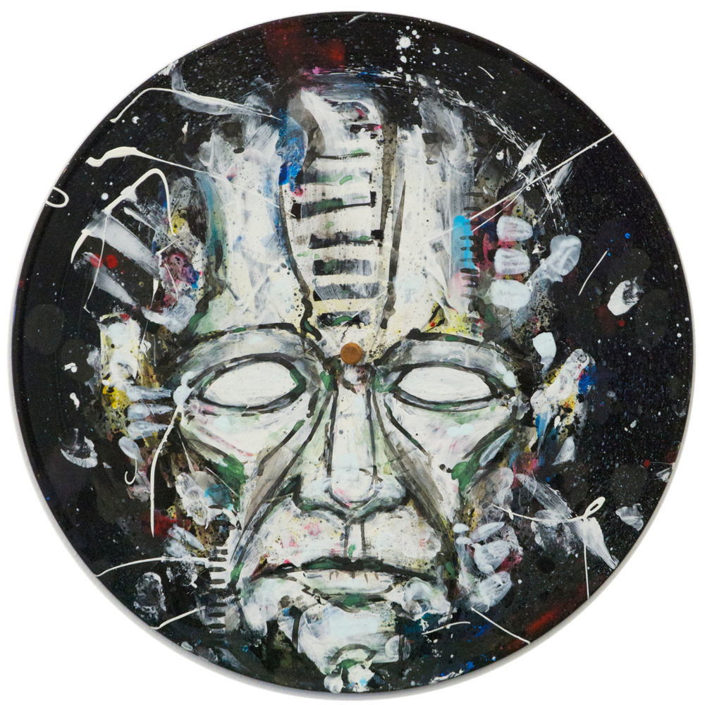 2013, acrylic + spray paint on vinyl record.