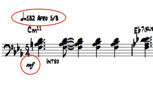 Ex 2. Tempo/Feel indications and starting dynamics are commonly omitted in error, yet is crucial starting information.