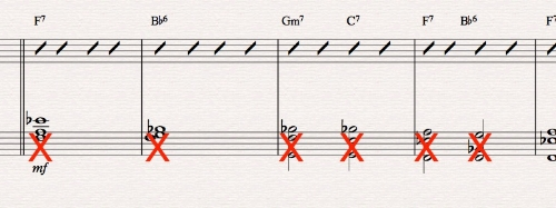 Ex 9. Comping slash-chords on a piano grand-staff is best left to the treble clef only. Otherwise this is rather unclear to the pianist. Same for solos; it's tedious to indicate comping chords below slash-solo chords.