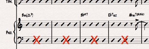 Ex 10. Do not indicate slash chords on both staves of a grand staff. Treble clef always takes priority. Many score editors can also hide blank staves (in this case, the bass clef) to make parts more condensed.