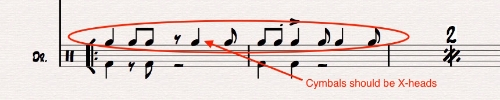 Ex 12. Cymbal patterns above the staff should be notated using X-heads, instead, as shown below. These could be confused as tom-notation.