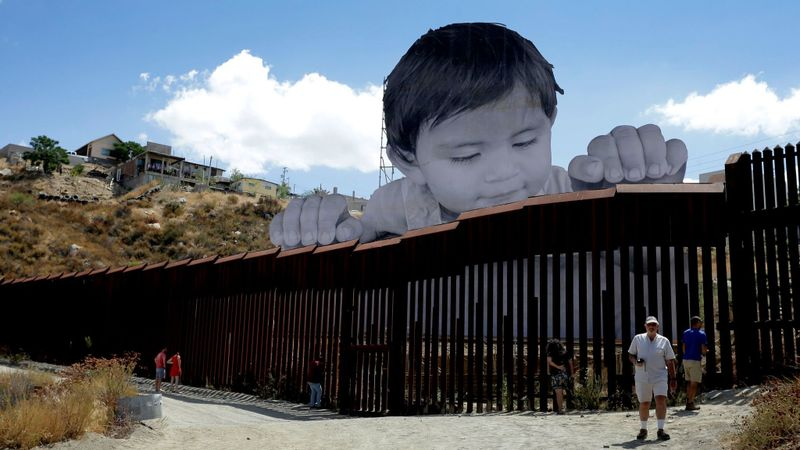 Art installation on the U.S.-Mexico border. Photo credit: Paul Buck / European Press photo Agency