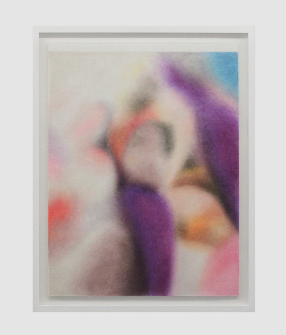 """Houla, Syrie,25 mai 2012 (purple blanket)""   Drawing with colour pencils on felt  60x80cm  2018"