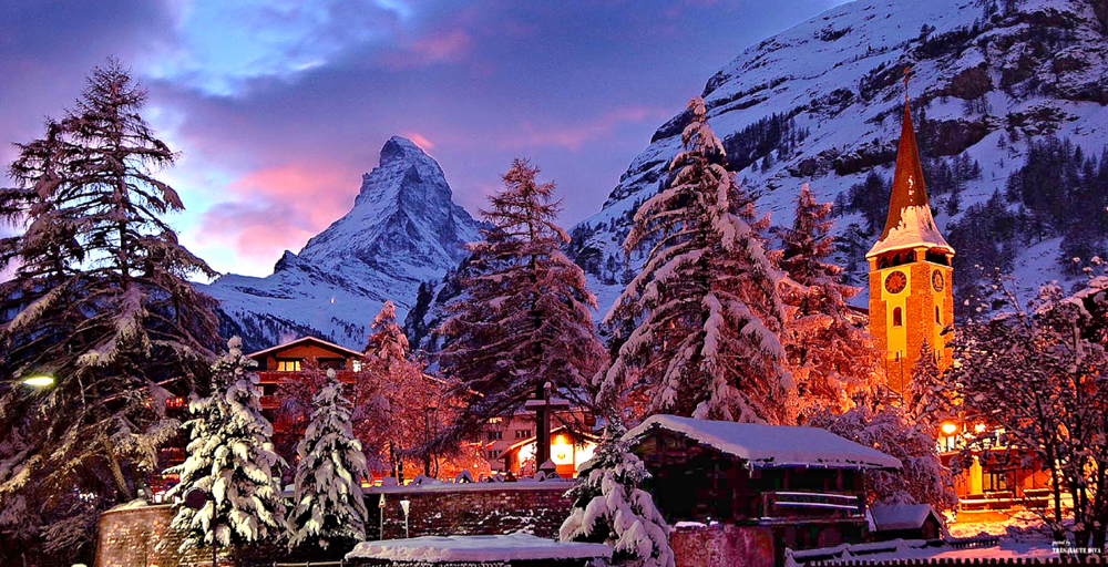 Zermatt in Winter at night