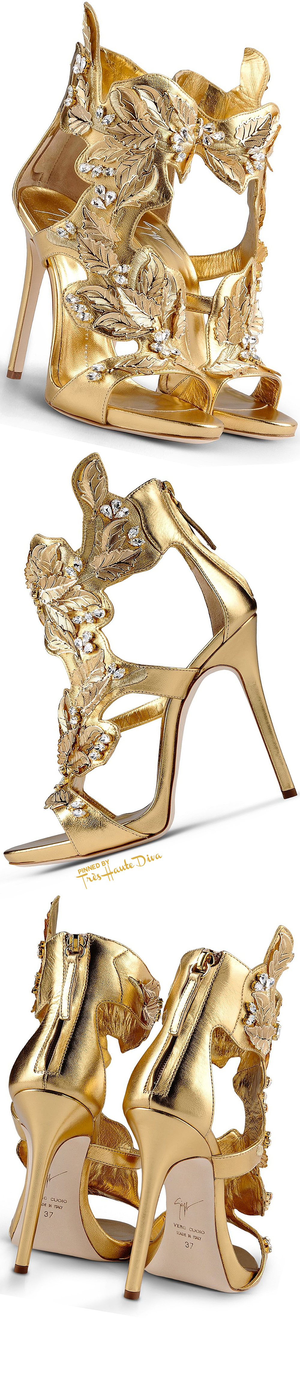 Giuseppe Zanotti Gold and Rhinestone Embellished Nappa Leather Sandals