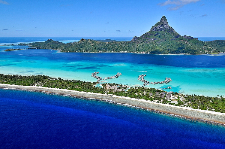InterContinental Bora Bora on Motu Piti Aau with view of Mount Otemanu