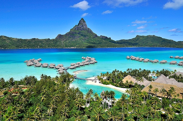 InterContinental Bora Bora Lagoon and view of Mount Otemanu