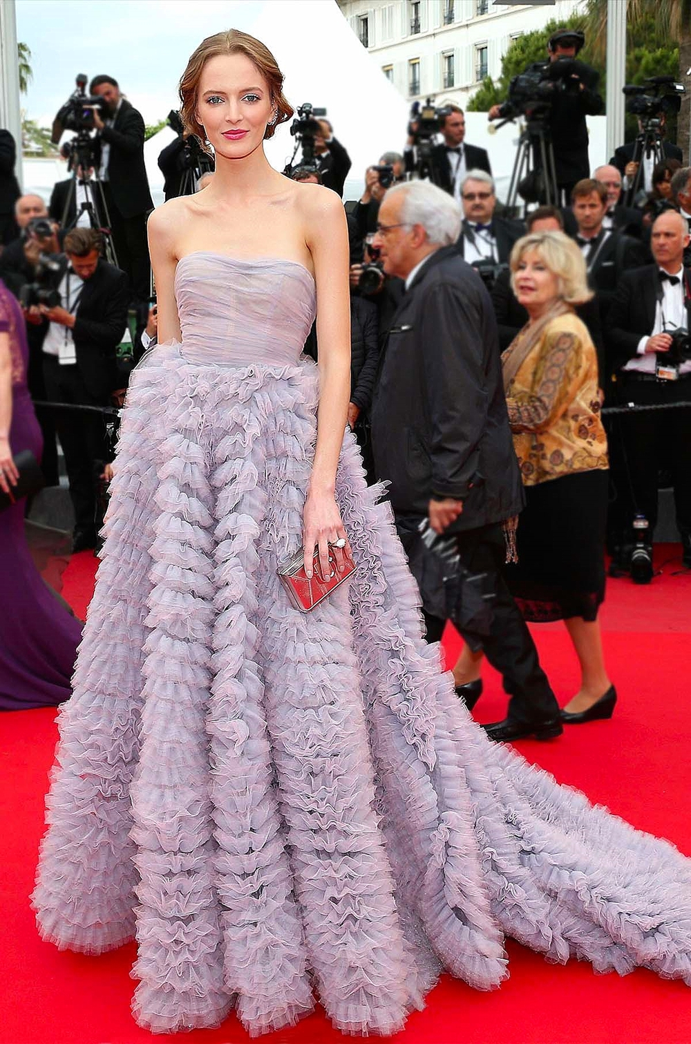 Daria Strokous in  Luisa Beccaria  with Atelier Swarovski jewels & Paula Cademartori clutch       vogue.co.uk/ Getty