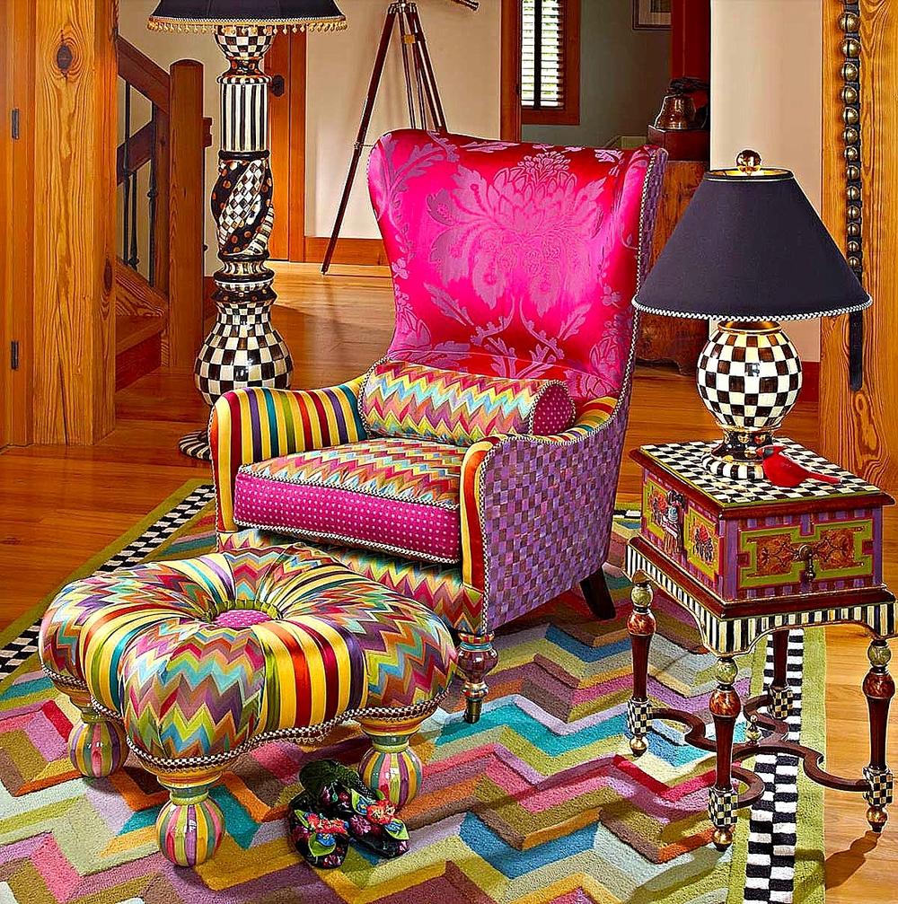 Kaleidoscope Wing Chair & Kaleidoscope Footstool