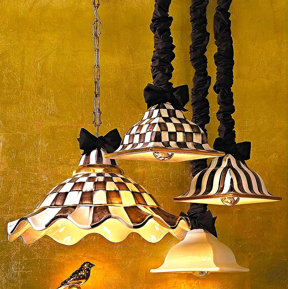 Medium Courtly Check Pendant Lamp,Courtly Check & Courtly Stripe Square Hanging Lamps & Simply White Square Hanging Lamp
