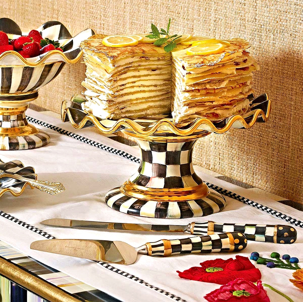 Courtly Check Fluted Cake Stand, Courtly Check Compote,  Courtly Check Bent Pie Server & Cake Knife