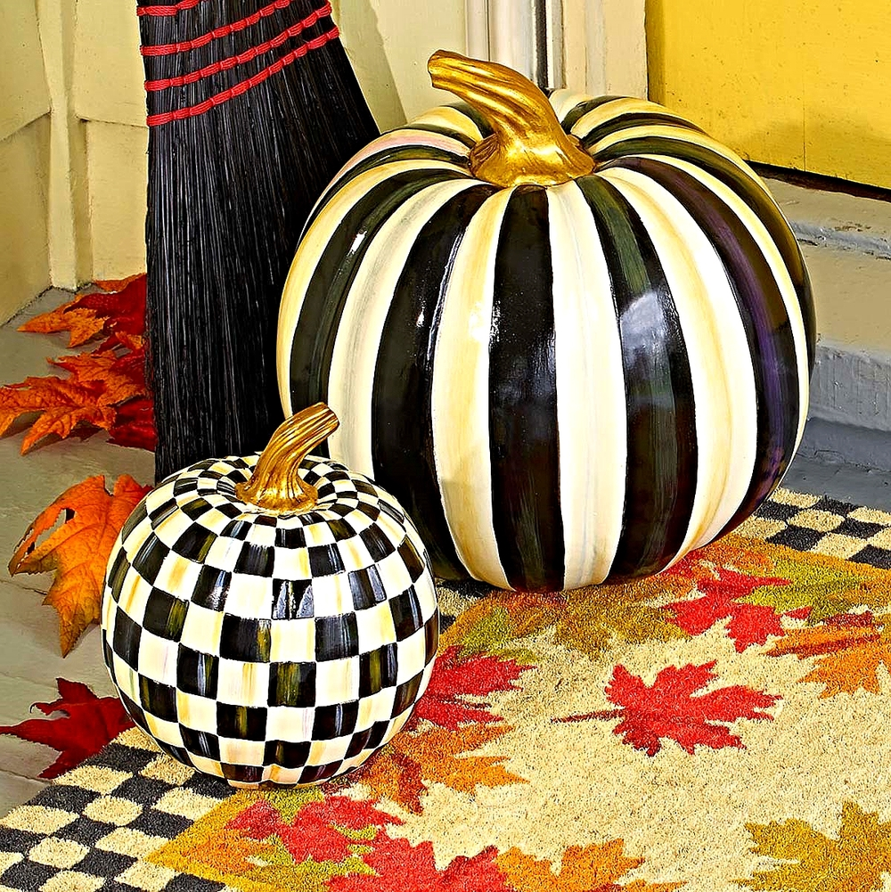 Large Courtly Stripe & Small Courtly Check Pumpkin