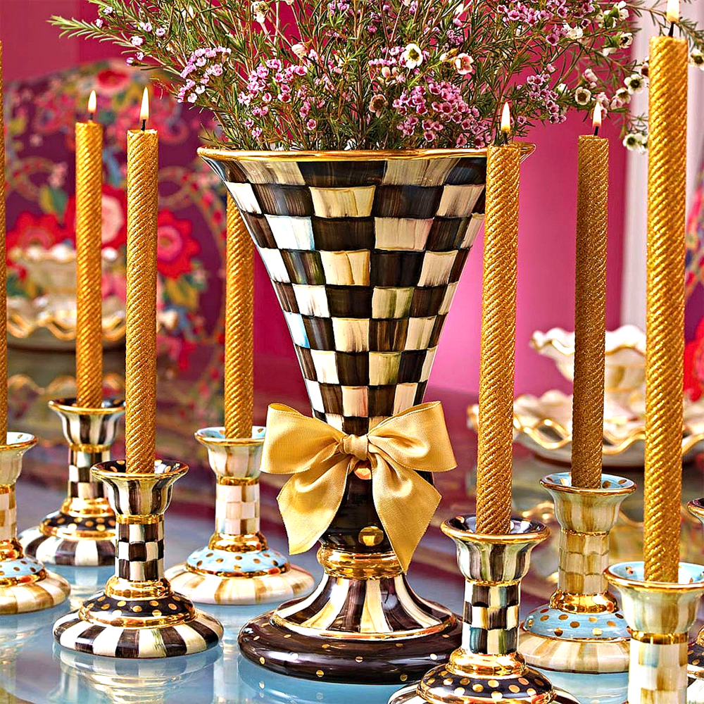 Courtly Check Large Vase, Courtly & Parchment Check Column Candlesticks And Gold Glitter Diagonal Taper Beeswax Candles