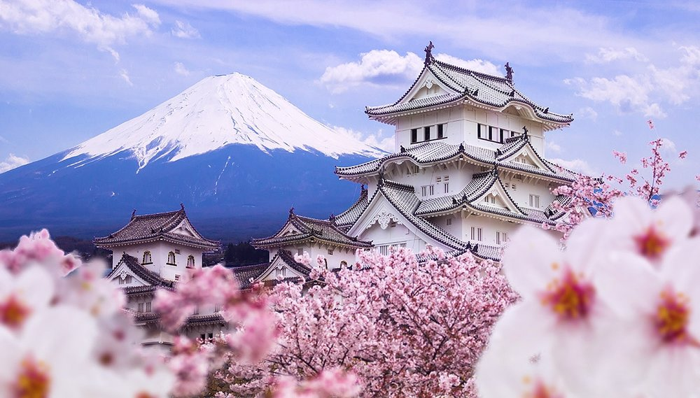 Himeji castle and cherry blossoms with Mount Fuji in the background, Hyogo Prefecture, Japan