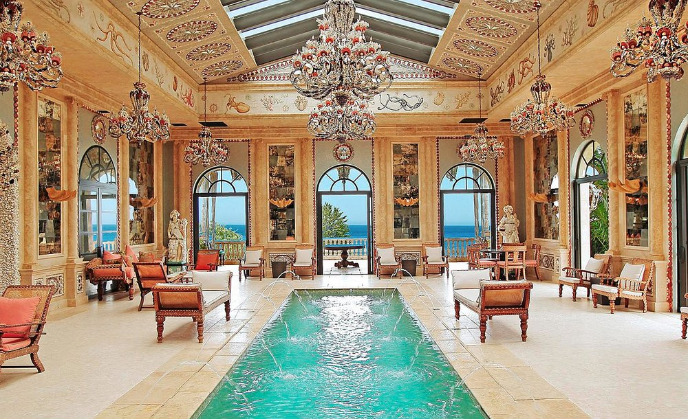 La Villa Contenta, Natatorium  — an indoor pool in Romanesque style, Malibu, California