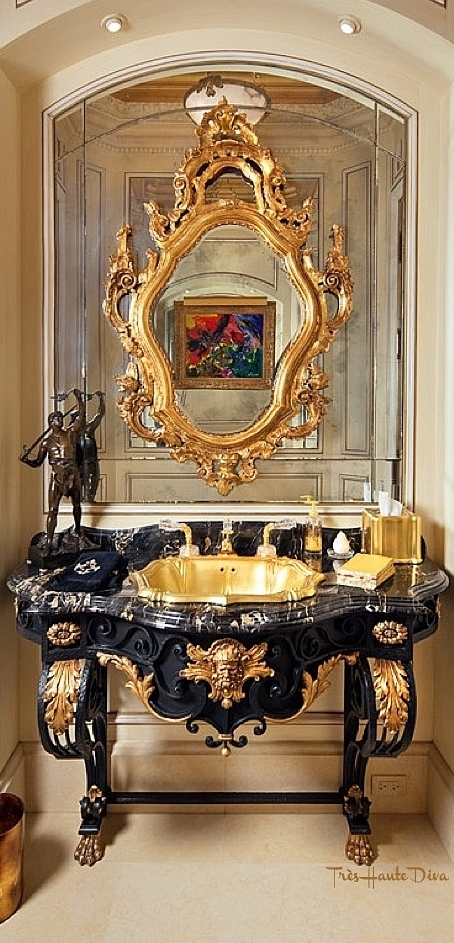 French Antique Vanity Powder Room 24K Gold Onyx Drop In Sink