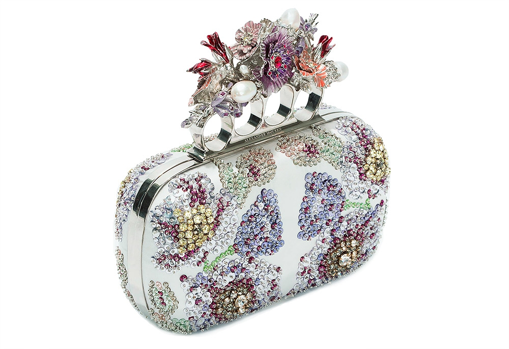 Embroidered flower four-ring short clutch, Alexander McQueen