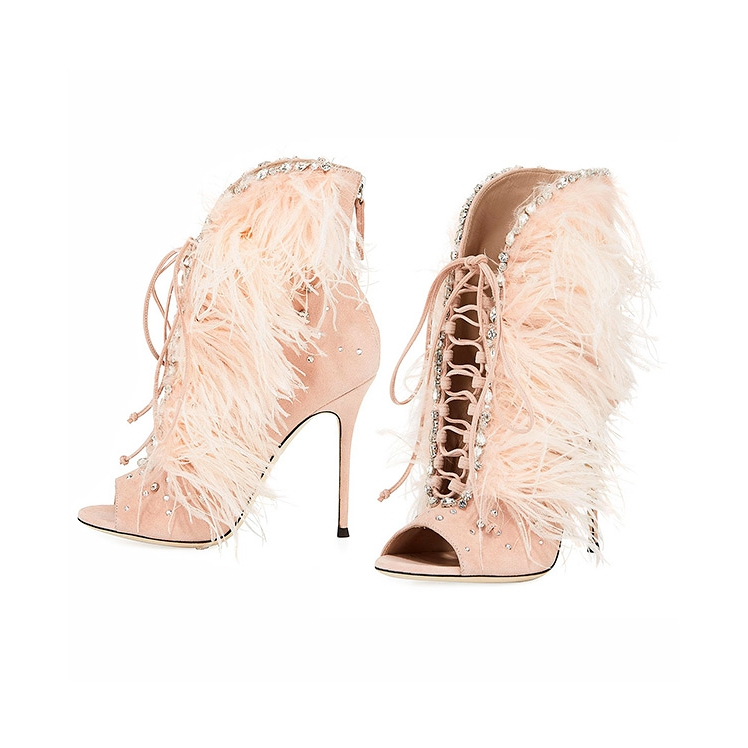 Jeweled Feather Suede Lace-Up Bootie by Giuseppe Zanotti