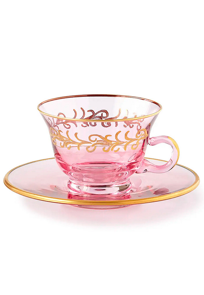 Blush Oro Bello Teacups/Saucers