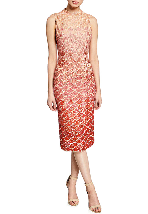 Alice + Olivia Rosalee Embellished Mock-Neck Midi Gown