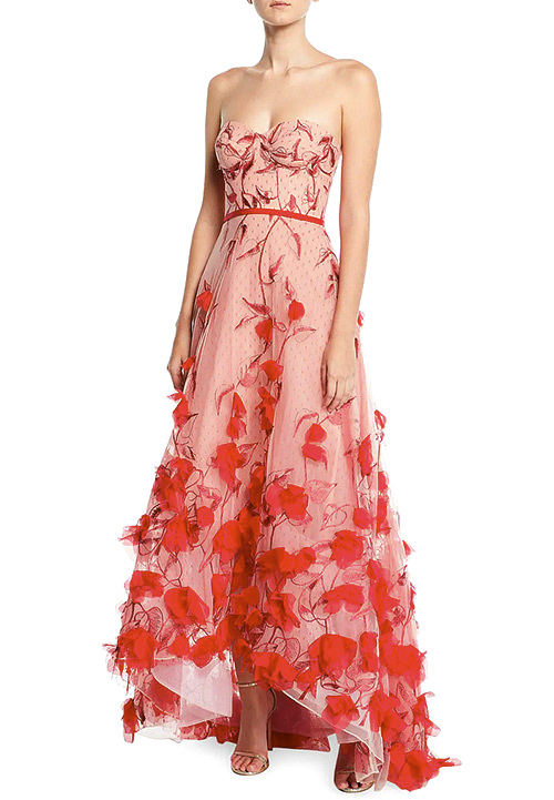 Marchesa Notte Strapless 3D Floral Embroidered High-Low Gown