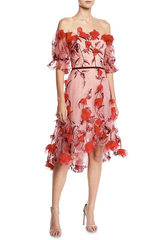 MARCHESA NOTTE Off-The-Shoulder 3D Floral Embroidered Cocktail Dress in Red