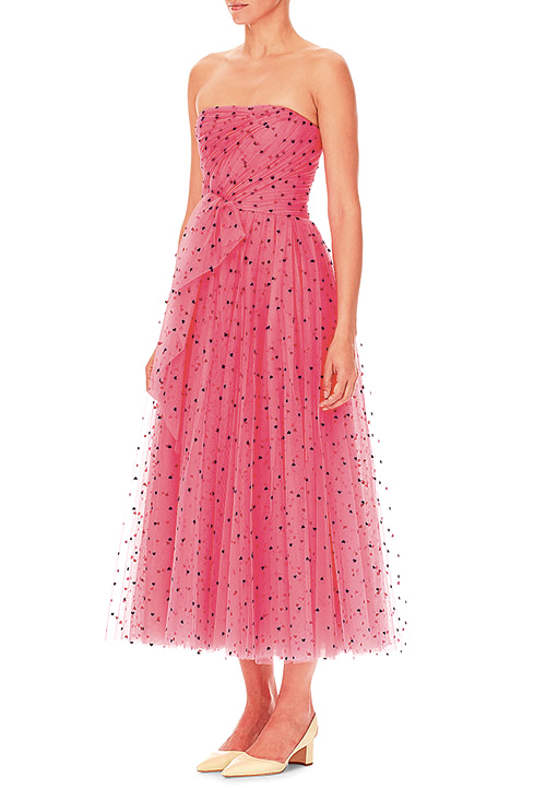 Carolina Herrera Strapless Heart-Print Tulle A-Line Cocktail Dress w/ Twist Draping