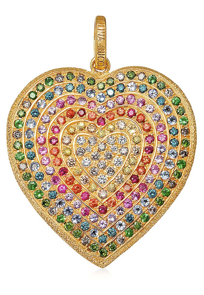 Carolina Bucci 18k Gold Florentine Rainbow Heart Pendant