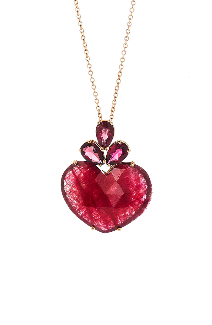 Christina Alexiou Red Tourmaline Heart Pendant Necklace
