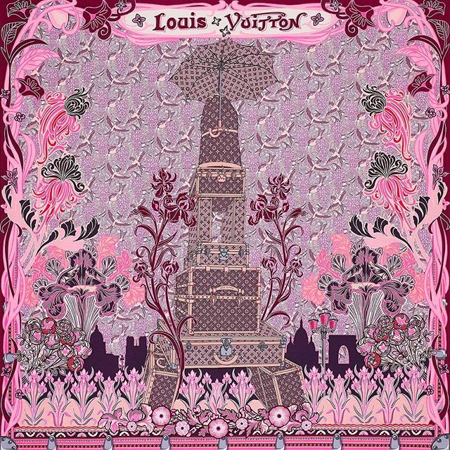 #louisvuitton Louis à Paris Square #fashioncrushoftheday  @treshautediva  @louisvuitton  #pink #silkscarf #paris #eiffeltower #artnouveau Jacques Henri Lartigue