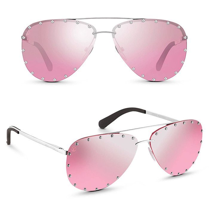 The Party Sunglasses $680.00 Silver-color frame, Pink and silver gradient mirror lens, Silver-color LV studs on lenses