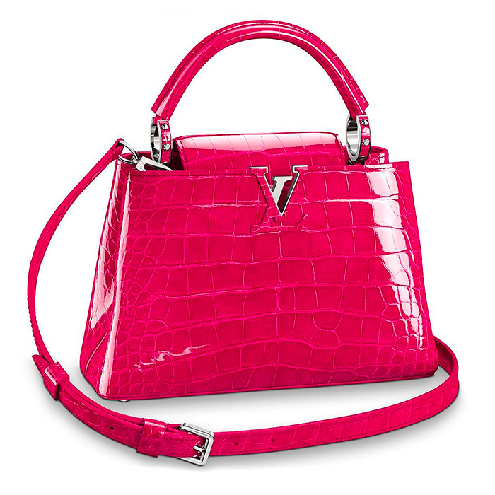 Capucines BB $30,500.00 in Rose Spinelle, 10.6 x 8.3 x 3.9 inches, high gloss alligator leather, available in 24 colors