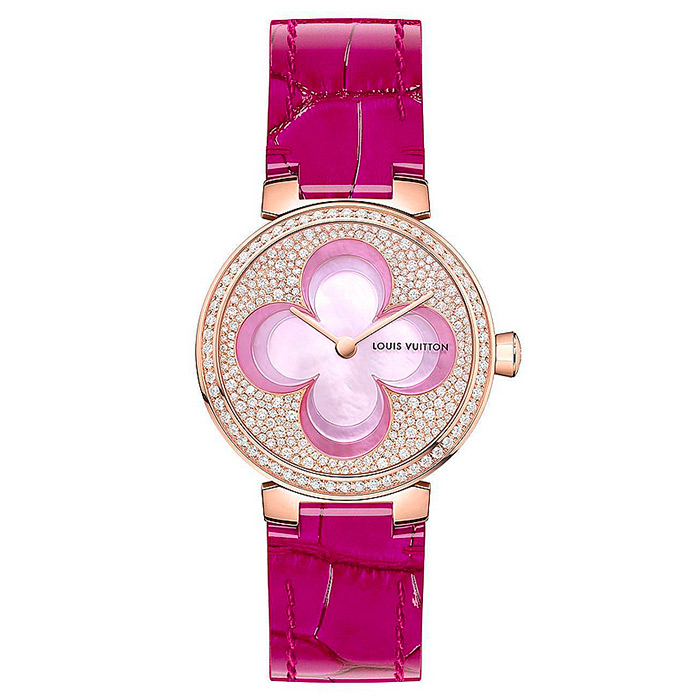 TAMBOUR SLIM BLOSSOM 28 Magenta $31,495.00 18K pink gold case set with 60 diamonds, dial set with 248 diamonds