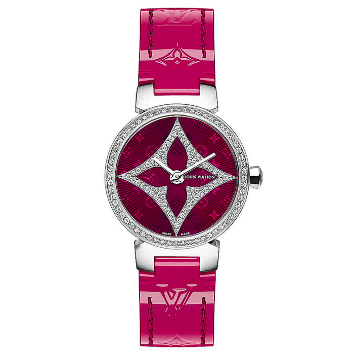 TAMBOUR SLIM STAR 28 $10,235.00 Magenta, steel case set with 68 diamonds, Star flower set with 76 diamonds