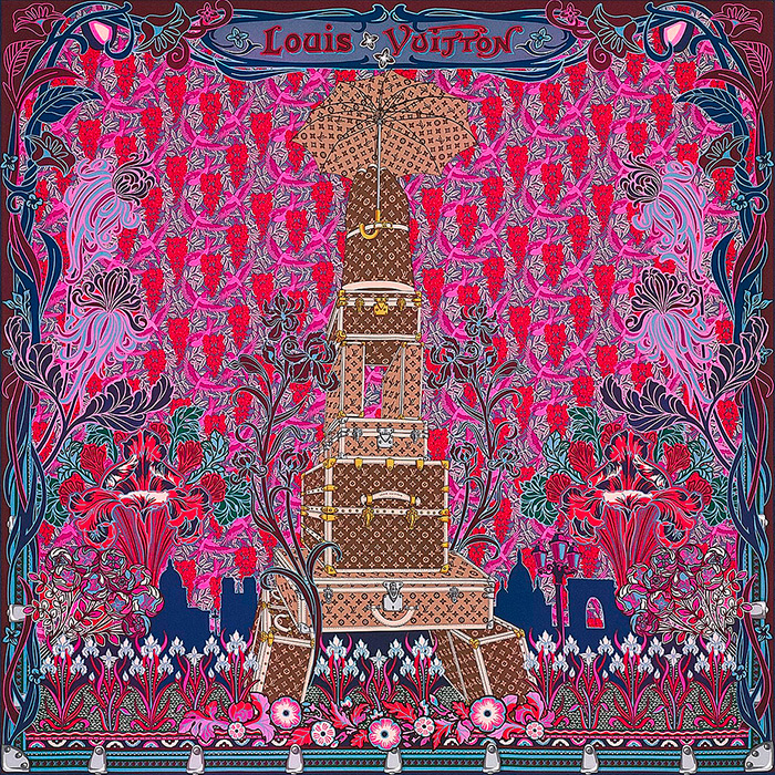 Louis A Paris Square in Fuchsia 35.4 x 35.4 inches 100% silk $485.00