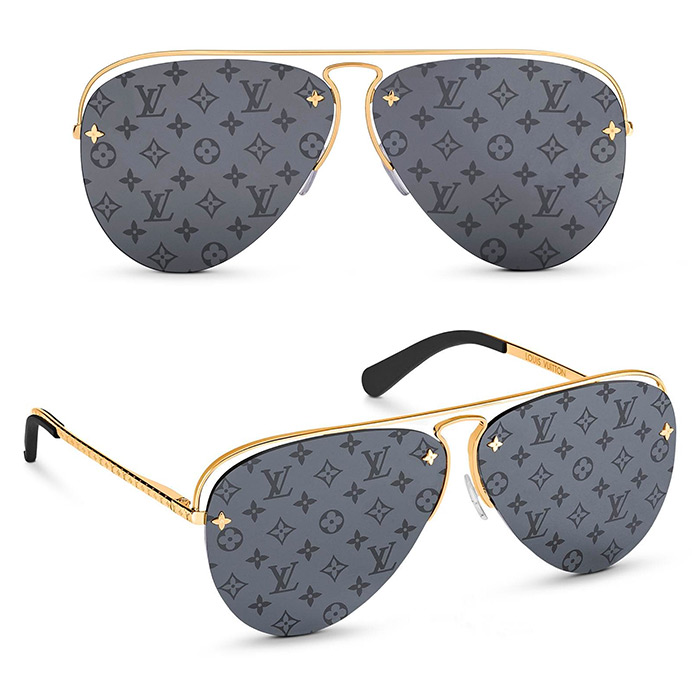 Grease Sunglasses $740.00 mirrored Monogram lenses in dark gunmetal gray, Monogram Flower studs on the lenses