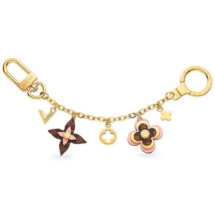 Blooming Flowers Chain Bag Charm and Key Holder $515.00 Pink Leather, dual-function clasp  effortlessly attach onto a bag or keys