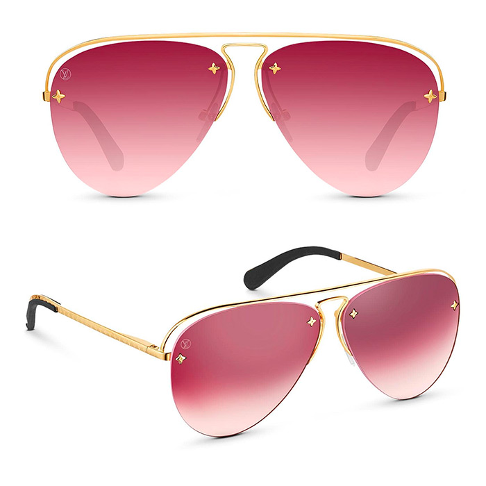 Grease Sunglasses $705.00 Aubergine-color lenses, Monogram Flower studs on the lenses