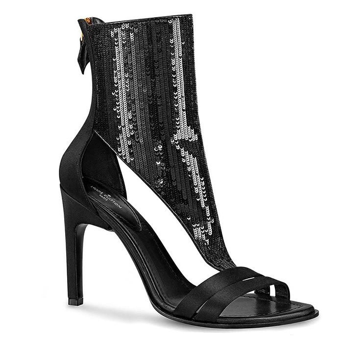 Iconic Sandal in Black $1,720.00, Satin and sequins, 10 cm / 3.9 inch heel, (also available in Silver)